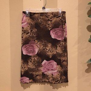 Dresses & Skirts - Clingy bronze, gold & blush pink rose nylon skirt